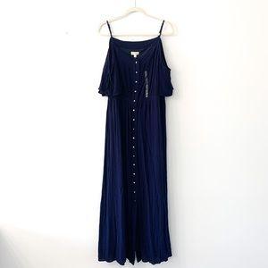 Maison Jules Navy Button Front Maxi Dress NWT